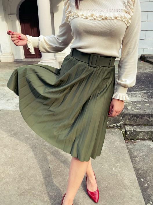Spódnica plisowana midi Alise z gumką i paskiem zielona
