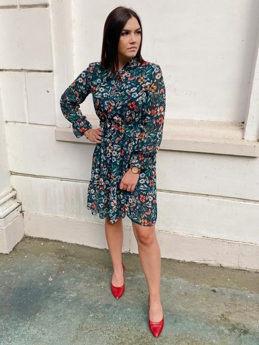 Sukienka Rita szyfonowa w kwiaty zielona