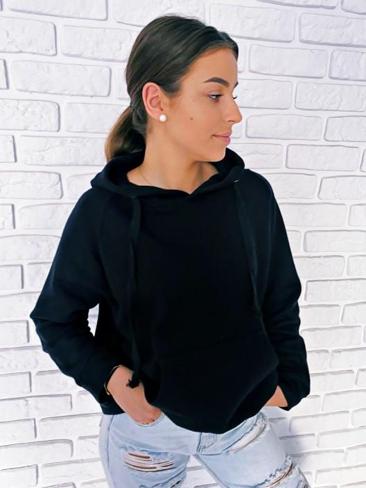 Klasyczna bluza damska z kapturem basic oversize z kieszenią czarna