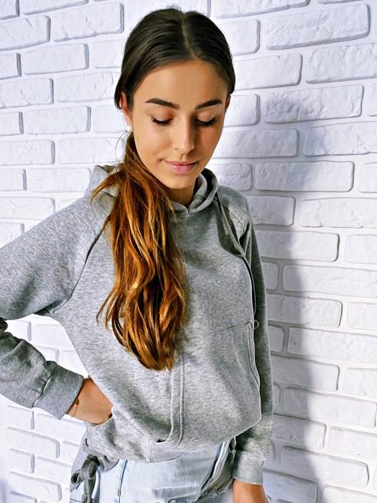 Bluza damska z kapturem basic oversize szary melanż