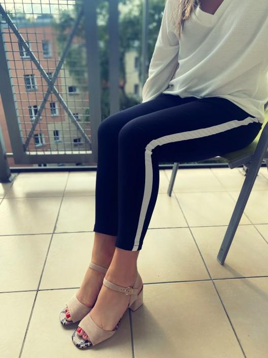 Spodnie ELLA z wiskozy z lampasami czarne