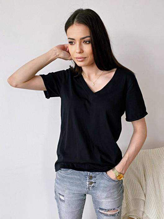 T-shirt damski czarny vneck bawełna polska produkcja Belotta